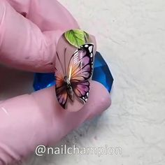 A realistic nail design 🦋😍 By: Butterfly Nail Designs, Butterfly Nail Art, Flower Nail Art, Acrylic Nail Designs, Simple Nail Art Videos, Nail Art Designs Videos, Fall Nail Art, Glitter Nail Art, Pointy Nails