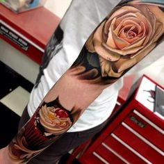Creamy rose tattoo