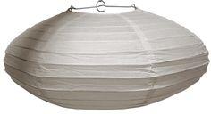 """Flat Oval White Paper Lantern 16"""" D x 6"""" H"""