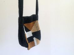 Vintage Geometric Beaded Bag - 70s 80s 90s - Handbag - Purse - Neutrals - Black - Triangle on Etsy, $32.00