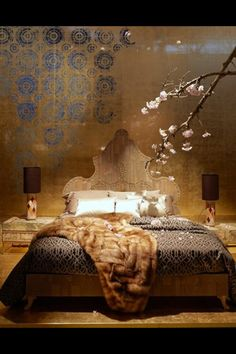 Stenciled wall.  Purposefully created to appear ancient. Gorgeous!