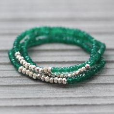 Boho Green Onyx Hill Tribe Stacking Bracelets