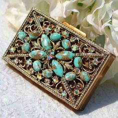 Vintage Mirror Powder Compact, Jeweled Jade Pearl Rhinestone, Ornate Gold Metal Case, 1940s 1950s Hollywood Regency Accessory by TheGildedSwan, $69.00