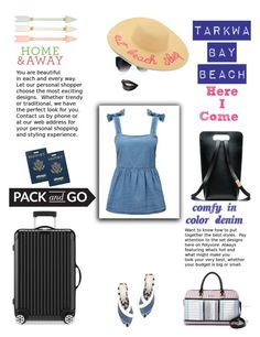 """Comfy In Color Denim"" by yemmy-made on Polyvore featuring Miss Selfridge, eBags, Pillowfort, Forever 21, STELLA McCARTNEY, River Island, Rimowa, contest and Colordenim"