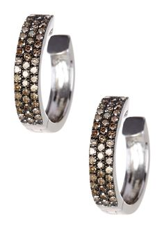 Two-Tone Champagne Diamond Huggie Hoop Earrings - 0.50 ctw by Savvy Cie on @HauteLook