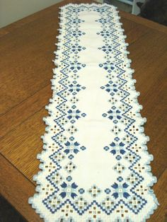 Hardanger blue and white embroidered dresser scarf or runner 38 inches pristine vintage hc3374 -- Currently Available for purchase on eCRATER.com