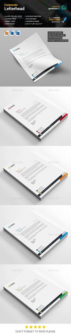 Features of Letterhead Template 4 Color Versions Paper Size With BleedsQuick and easy to customize templates Change Customize easily in MS WORD, PSD Letterhead Paper, Letterhead Design, Letterhead Template, Print Templates, Psd Templates, Design Templates, Stationery Printing, Stationery Design, Organisation Hacks
