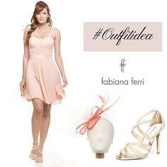 #Outfitidea... #Rosa per un #minidress in leggero chiffon davvero molto #chic  Abbinalo ad un #sandalo con cinturini incrociati e #tacco rivestito in ecopelle #color #platino. E alla particolare #acconciatura #rosa