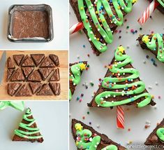 You'll love these Christmas Brownies Recipes and Ideas including Christmas Brownies in a jar, christmas tree brownies and more. Christmas Sweets, Christmas Cooking, Noel Christmas, Christmas Goodies, Holiday Baking, Christmas Desserts, Simple Christmas, Christmas Cakes, Christmas Parties