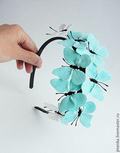 Купить Butterflies - темно-бирюзовый, ободок для волос, ободок для девочки, ободок для девушки, ободок