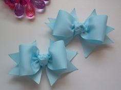 Baby Blue Bows for Toddlers or Babies Pig Tail Bows by ransomletterhandmade, $10.00