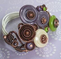Spring Posey Lampwork Glass Bracelet in Lilac, Lime and Ivory with Copper