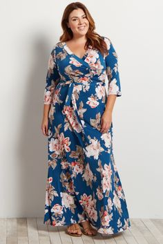 Navy Blue Floral Plus Size Maxi Wrap Dress