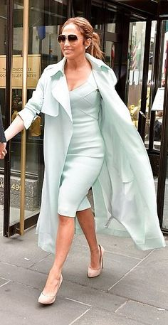 Jennifer Lopez in Roland Mouret and Aqaq out in NYC. #bestdressed