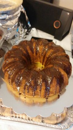 Butter cake with chocolate glaze