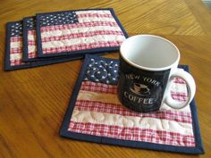 Americana Quilted Mug Rugs / Handmade Coasters by Quiltedhearts5, $6.50