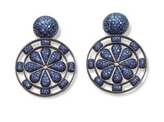Hemmerle earrings with sapphires set in blackened silver and white gold. Photo courtesy of Hemmerle.
