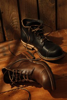 Viberg Service Boots with Brogue Detailed Toe Caps.