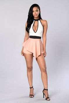Fashionnova.com Young and Free Romper - Ivory/Mauve