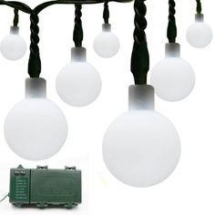 Lalapao 2 Pack Globe Battery Operated Optional Automatic Timer String Lights 100 LED Ball Fairy Christmas Lighting Decor For Outdoor, Indoor, Garden, Patio, Bedroom Wedding Decorations (White)