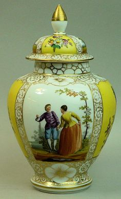 1 of 6: ANTIQUE DRESDEN HELENA WOLFSOHN HAND PAINTED FINE PORCELAIN VASE & COVER C.1890
