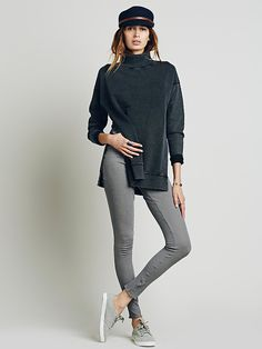 Jolene Pullover | Simple heavy knit comfy mock neck pullover with rib trim.  Exaggerated side vents.