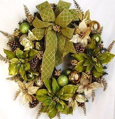 Pistachio Green Gold Pine Door Wreath...