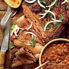 Southern Living Magazine: Slow Cooked Cowboy Brisket and Beans
