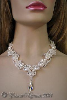 """Купить Свадебное украшение на шею, колье с жемчугом """"Грёзы"""" - белый, украшение, украшение на шею"""