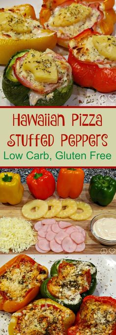 Hawaiian Pizza Stuffed Peppers - Low Carb, Gluten Free I love the way these Hawaiian pizza stuffed peppers taste with a garlic cream sauce as opposed to a red sauce. The savory flavor of the garlic balances out the sweetness of the pineapple. Gluten Free Recipes, Low Carb Recipes, Real Food Recipes, Cooking Recipes, Healthy Recipes, Paleo Food, Planning Menu, Clean Eating, Healthy Eating
