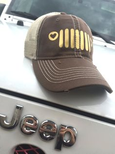 23d728816056d Jeep Grill Trucker Hat (Brown and Gold)  Destroyed Style Mesh Back Hat