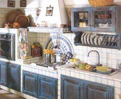 Cucina in muratura vintage blu decapato