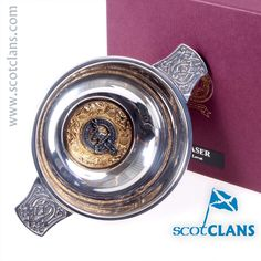 Fraser Clan Crest Quaich. Free worldwide shipping available.