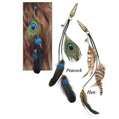Fine Peacock Hair Feathers. Care to dress up your 'do? Trios of reclaimed feathers on leather cords add an avian touch to these turquoise- and aurora-crystal-accented, clip-on extensions. - via Pyramid Collection