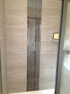 Waterfall tile in shower backsplash pinterest for Waterfall design tiles