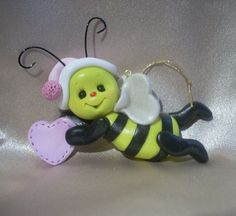 honey bee bumblebee bee Christmas ornament polymer clay insect bug sculpture figurine gift