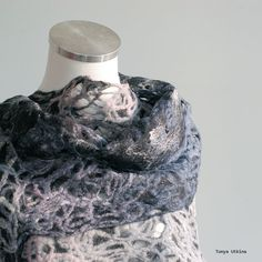 Hand felted light scarf. lace scarf. Light and airy. In blue, gray, pink #scarf #felted #art