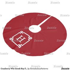 Cranberry Wht Greek Key Frame #2 Initial Monogram Brushed Polyester Tree Skirt