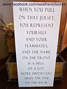 Hockey Sign Herb Brooks Quote by WeatheredWorks Team Quotes, Softball Quotes, Sport Quotes, Inspirational Quotes For Sports, Field Hockey Quotes, Hockey Sayings, Hockey Rules, Inspiring Quotes, Motivational