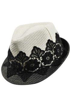 Luxury Divas Woven Panama Fedora Hat With Black Lace Band, Women's