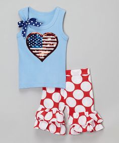 Love this Blue Flag Tank & Red Ruffle Shorts - Infant, Toddler & Girls by Beary Basics on #zulily! #zulilyfinds