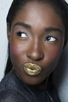 Holiday Party Makeup Inspiration - Flushed cheeks, gold lipstick and lavender eyeshadow. Gorgeous!
