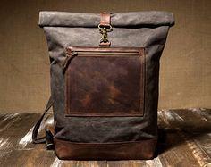 Gewachstem Canvas Tasche  Mens Rucksack  gewachst-Rucksack