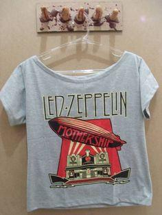 Camiseta Gola Canoa Led Zeppelin Cor: Cinza Tamanho único R$ 45,00  www.elo7.com.br/dixiearte