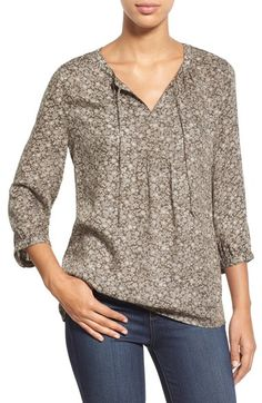 Caslon® Print Split Neck Boho Blouse (Regular & Petite) available at #Nordstrom
