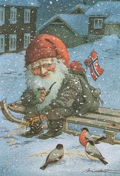 🌟God jul 🌟 This is a Tomte feeding little birds that otherwise would have some trouble finding seed in the snow ❄️ Thank you… Norwegian Christmas, Scandinavian Christmas, Christmas Gnome, Christmas Art, Kobold, Elves And Fairies, Vintage Christmas Cards, Christmas Pictures, Faeries