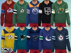 A collection of 31 NHL Teams pullover hoodies, including upcoming Vegas Golden Knights.  Found in TSR Category 'Sims 4 Male Everyday'