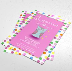 Einladungskarten - Geburtstagseinladung Mädchen Einladung Eule - ein Designerstück von pix-mix bei DaWanda