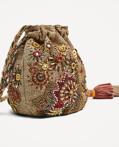 Image 3 of BEADED BUCKET BAG from Zara - Current fashion buy's embroidery sweets embroidery inspiration embroidery beautiful Bucket Bag, Potli Bags, Embroidery Bags, Jute Bags, Designer Wallets, Patchwork Bags, Beaded Bags, Fabric Bags, Vintage Purses