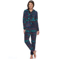 juniors so pajamas plush hooded one piece pajamas - Juniors Christmas Pajamas
